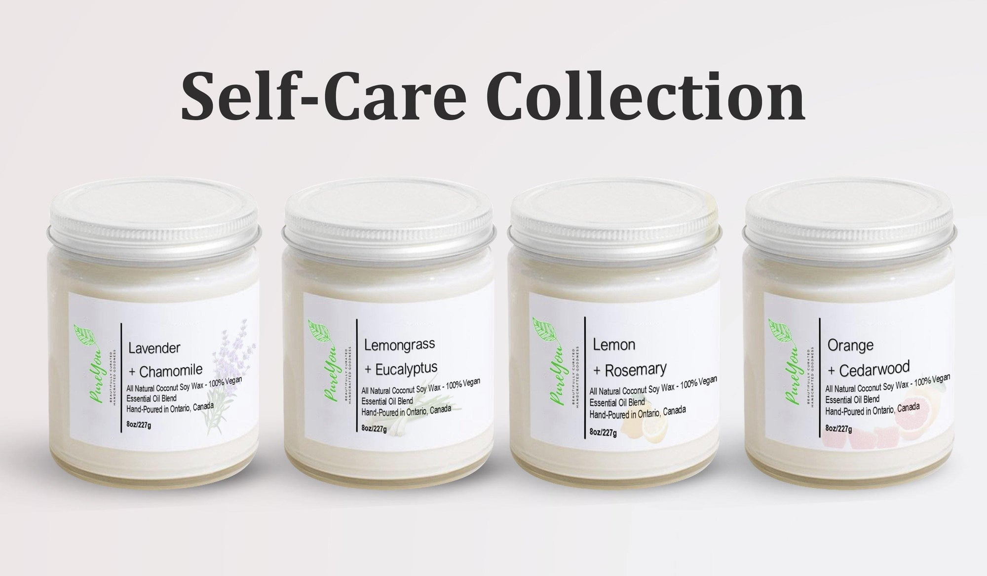 Self-Care Collection of Coconut Soy Wax Candles - PureYou Handmade