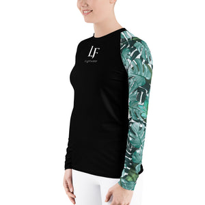 Ladies Green Floral Rash Guard