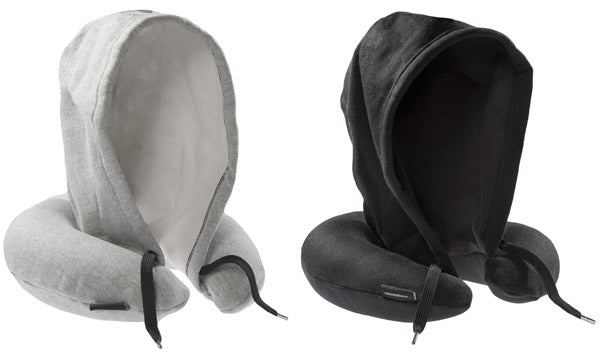 Evolution travel pillow with flip-up hood