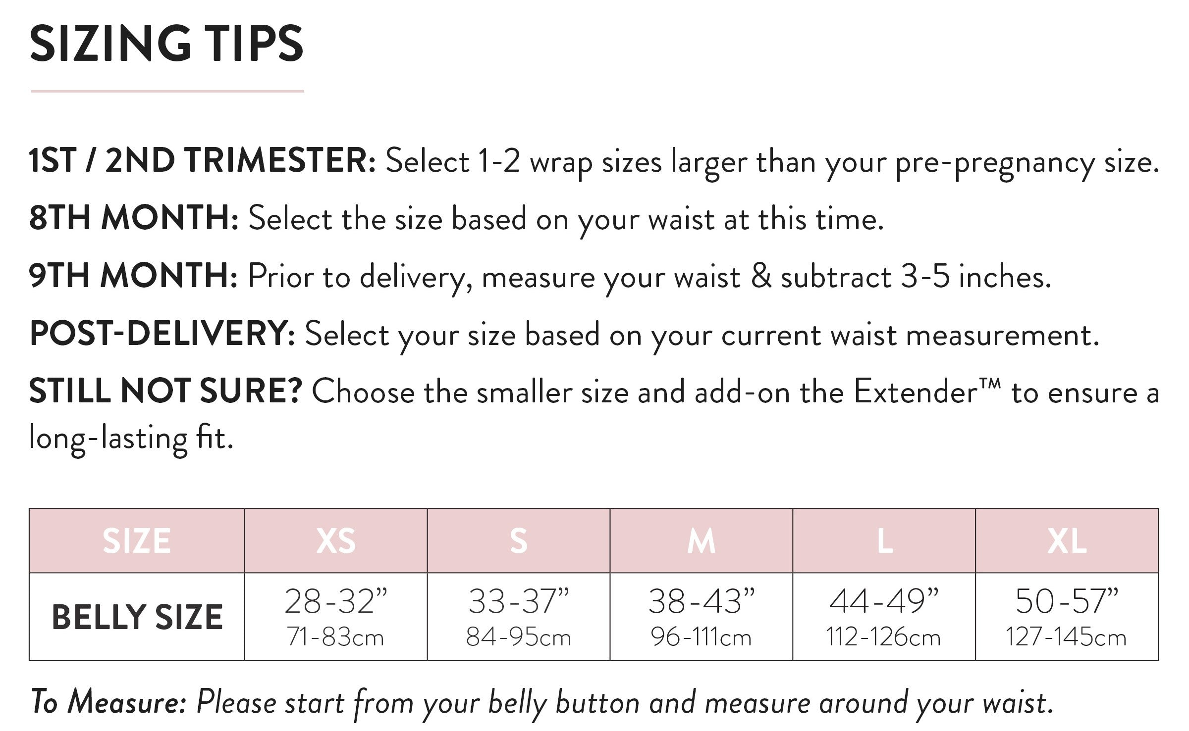Sizing Tips