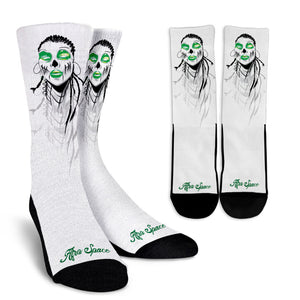 Sista Girl Green and Crew Socks - Afro Space