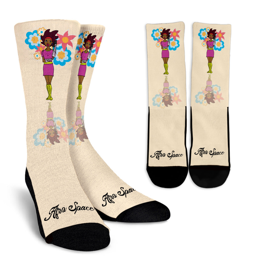 Afro Space Girls Crew Socks - Afro Space