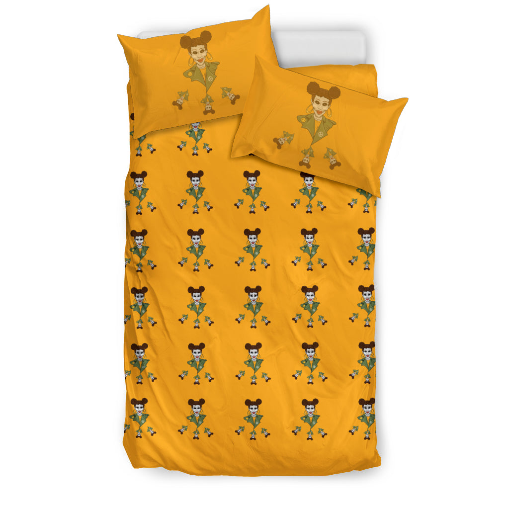 Afro Space Girls Yellow Bedding