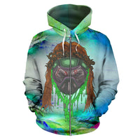Afro Space Orange Fury Zipper Hoodie - Afro Space