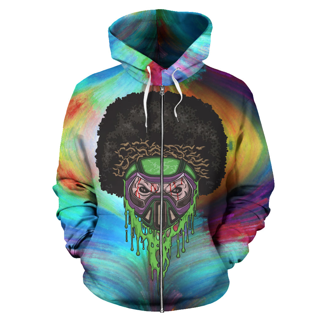 Afro Space Twister Zipper Hoodie - Afro Space