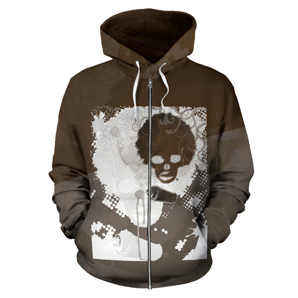 Chocolate Fusion Zipper Hoodie - Afro Space