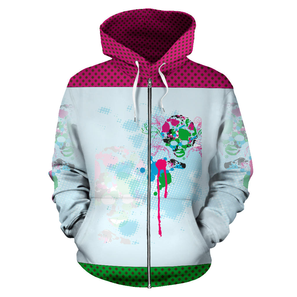 Afro Space Splash Zipper Hoodie - Afro Space