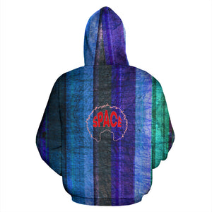 Afro Space Blue Steel Zipper Hoodie - Afro Space