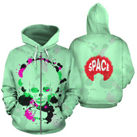 Afro Space Green Splatter Zipper Hoodie - Afro Space