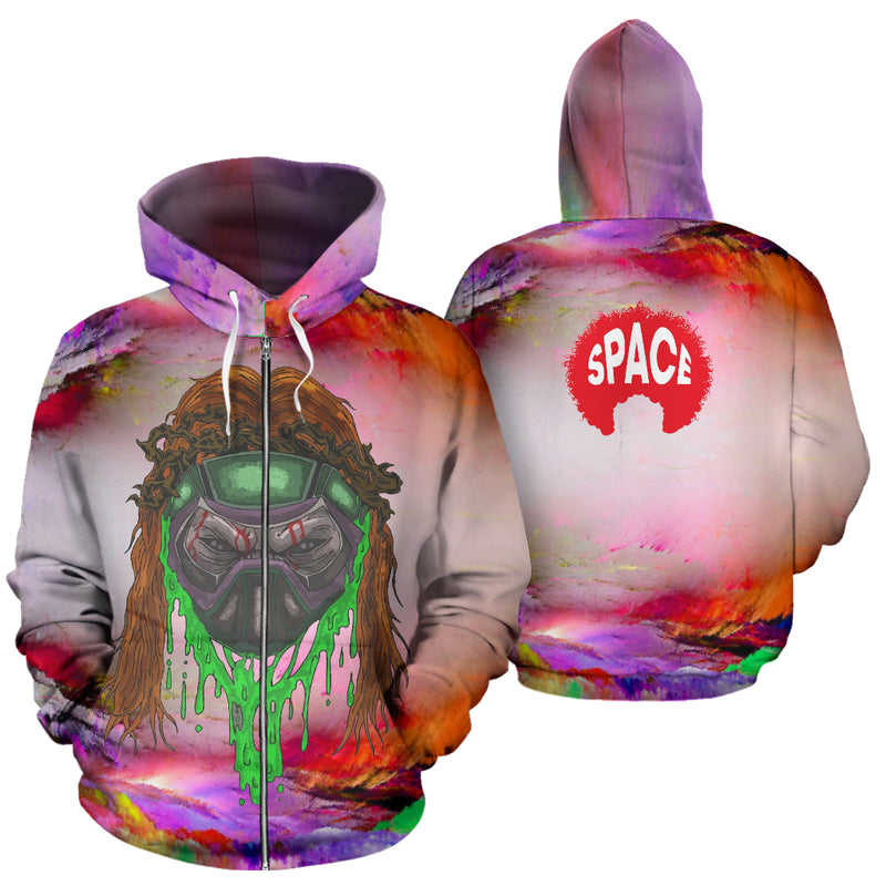 Afro Space Mind Screw Zipper Hoodie - Afro Space