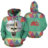 Afro Space Mint Zipper Hoodie - Afro Space