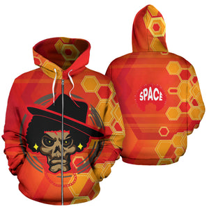 Afro Space Mean MUG Orange Zipper Hoodie - Afro Space