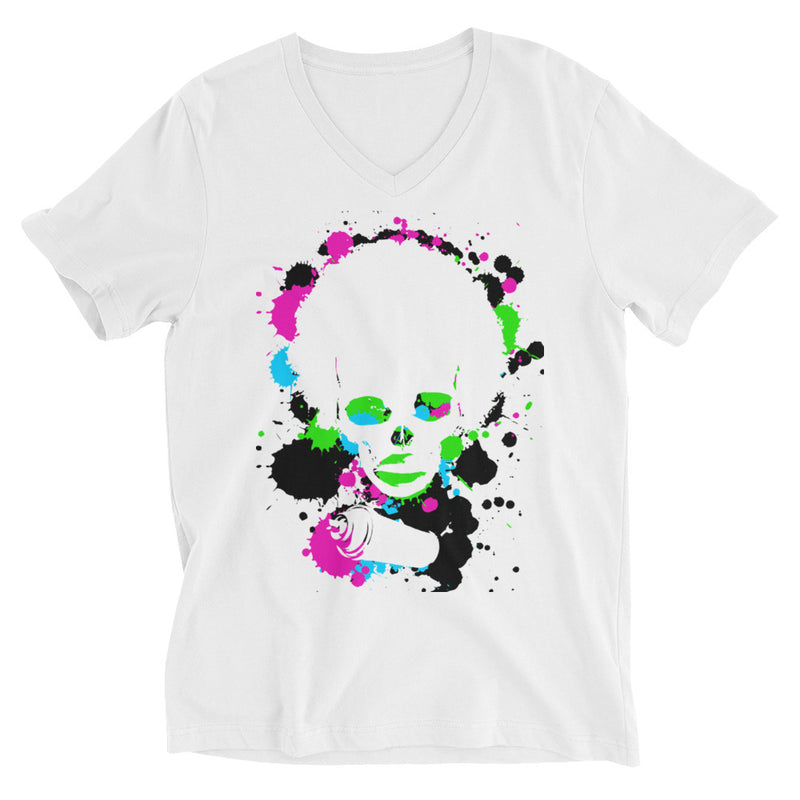 Unisex Short Sleeve V-Neck T-Shirt Splatter - Afro Space