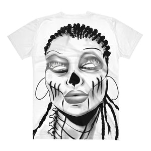 Afro Space Grey Eye Women's V-Neck T-Shirt