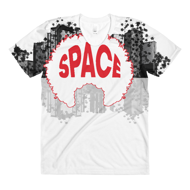 Afro Space City Sublimation women's crew neck t-shirt - Afro Space