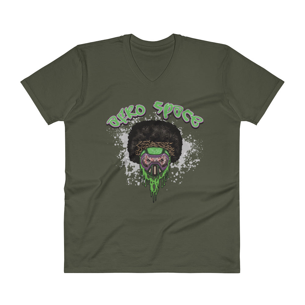 Afro Space Green Male V-Neck T-Shirt