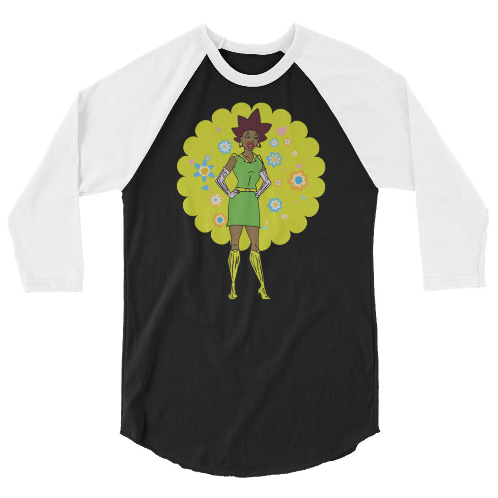 Afro Space Female Tee SUP! 3/4 sleeve raglan shirt - Afro Space