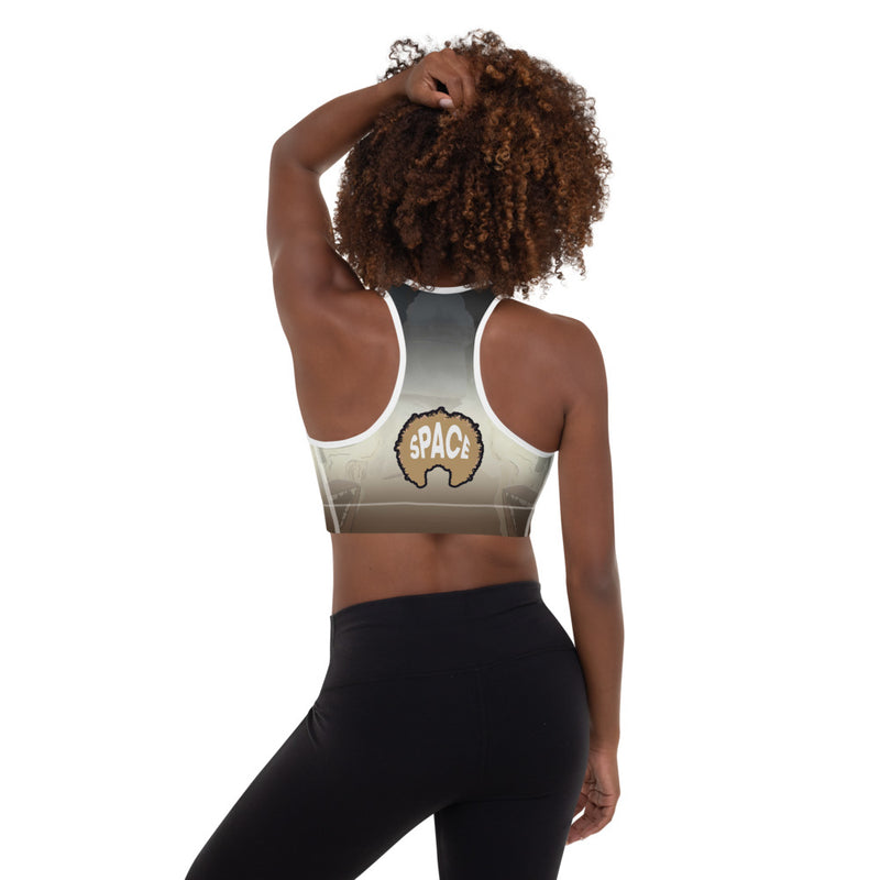 Afro Space Barcode Padded Sports Bra - Afro Space