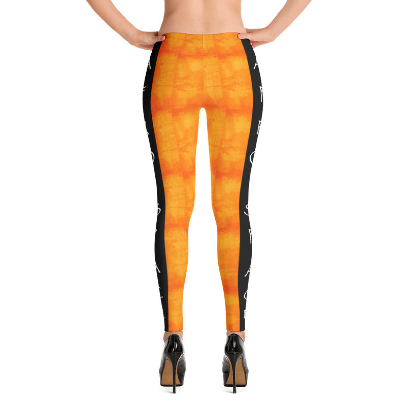 Orange n Black Themed Leggings - Afro Space