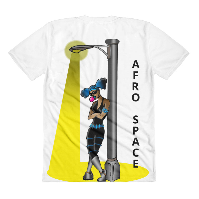 Afro Space Super Hero Around the Way Girrrl Sublimation women's crew neck t-shirt - Afro Space