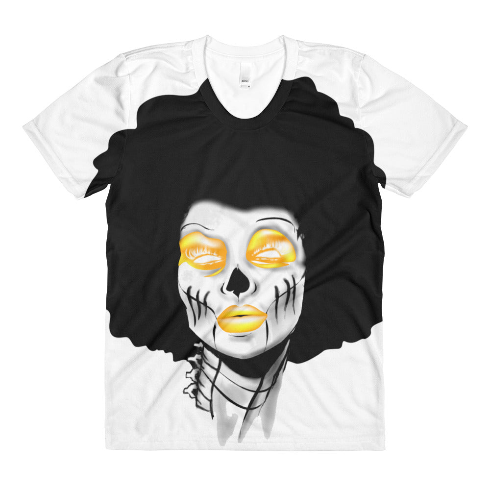 Afro Space Yellow Sista Sublimation women's crew neck t-shirt - Afro Space
