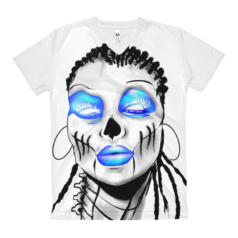 Afro Space Blue Eye All over Women's V-Neck T-Shirt - Afro Space