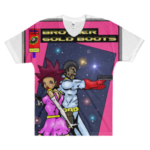 Brother Gold Boot Pink -Men's V-Neck T-Shirt - Afro Space