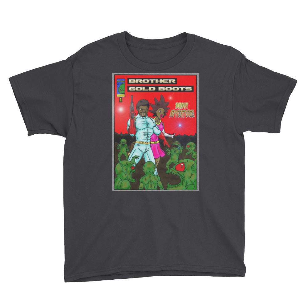 Afro Space BG  Red Youth Short Sleeve T-Shirt