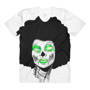 Afro Space Sista Girl Green Sublimation women's crew neck t-shirt