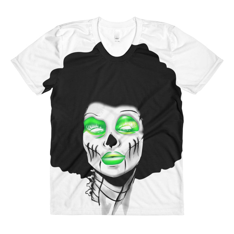 Afro Space Sista Girl Green Sublimation women's crew neck t-shirt - Afro Space