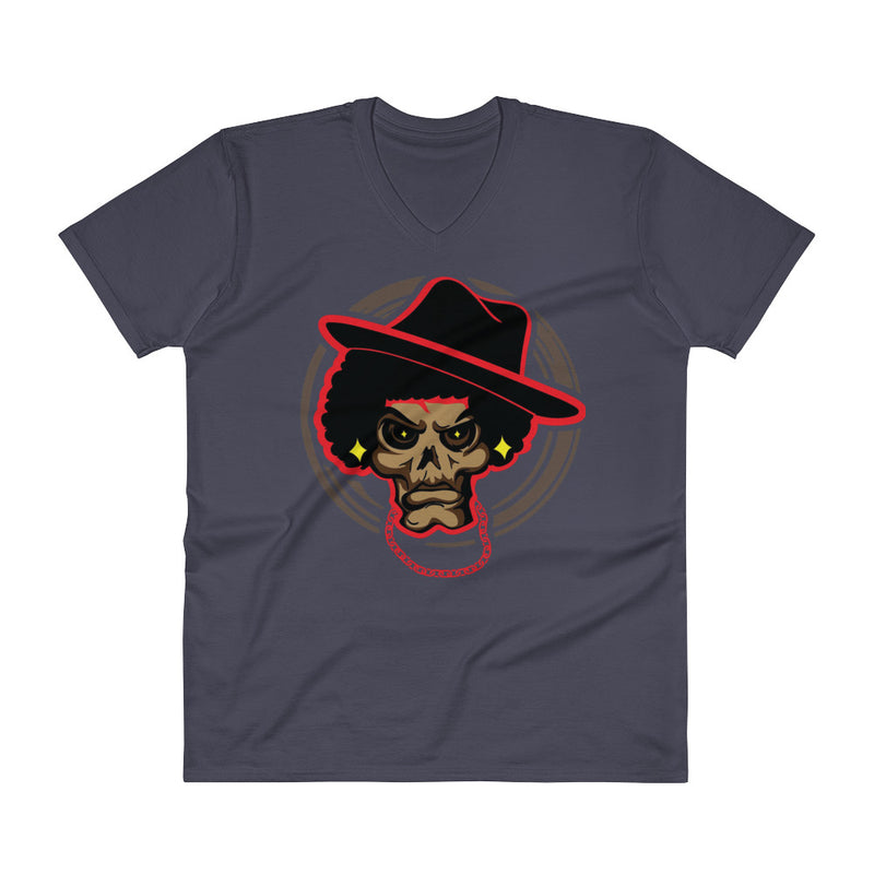 Male V-Neck T-Shirt Mean Mug - Afro Space