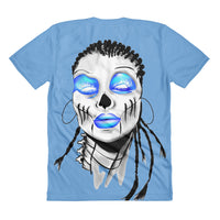 Women's Blue Spilt Top sublimation t-shirt - Afro Space