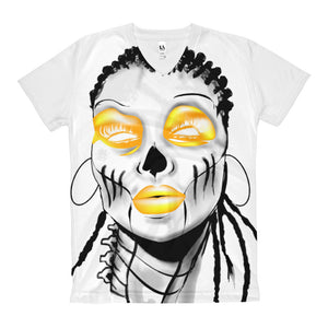 Afro Space Yellow / Grey  Eye Women's V-Neck T-Shirt - Afro Space