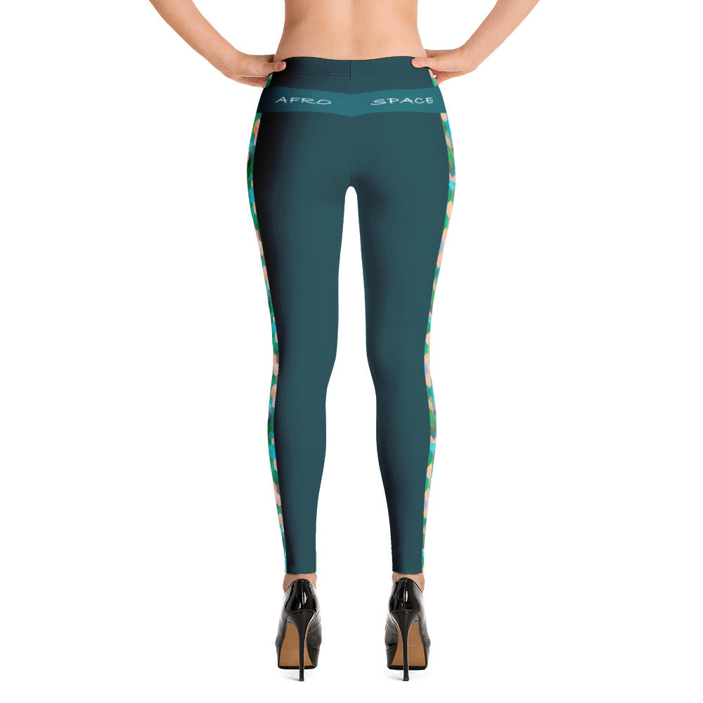 Teal Green Themed Leggings - Afro Space