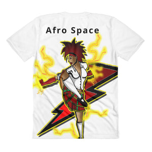 Afro Space Female Super Hero Sublimation women's crew neck t-shirt - Afro Space