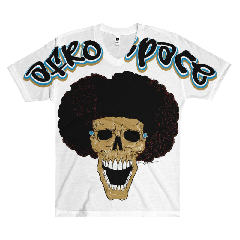 Afro Space Blue ALL Over Print  Men's V-Neck T-Shirt - Afro Space