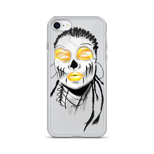 Afro Space Sista Girl Yellow iPhone Case