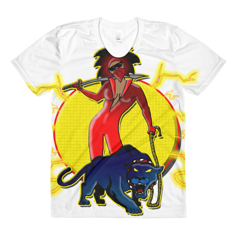Afro Space Female Super Hero 2.0 Sublimation women's crew neck t-shirt - Afro Space