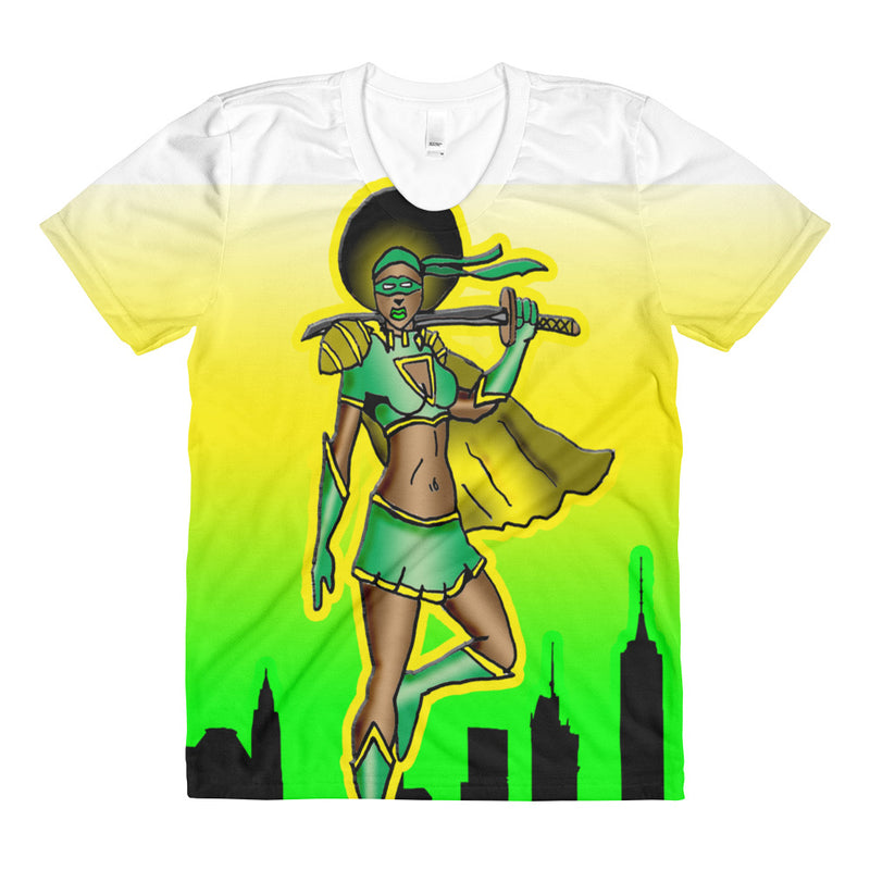 Green Sista Super Herp Sublimation women's crew neck t-shirt - Afro Space