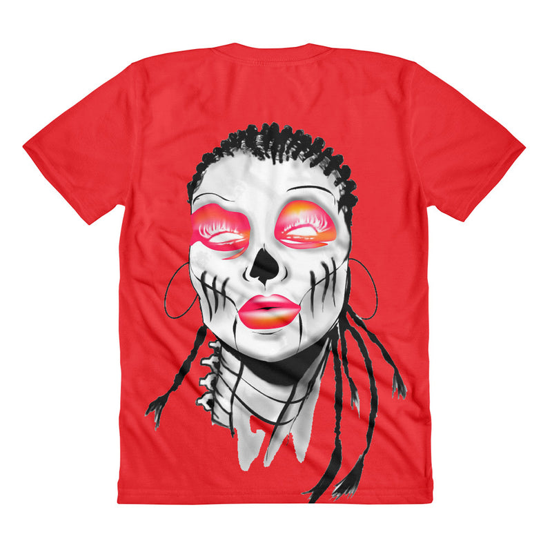 Women's Red Split sublimation t-shirt - Afro Space