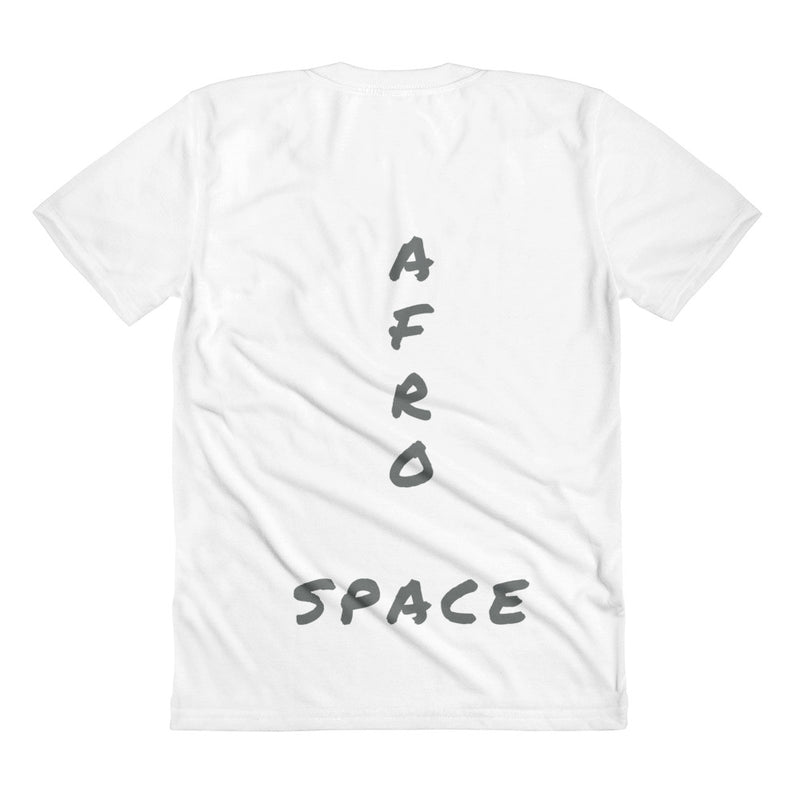 Afro Space Sista Girl Grey Sublimation women's crew neck t-shirt - Afro Space