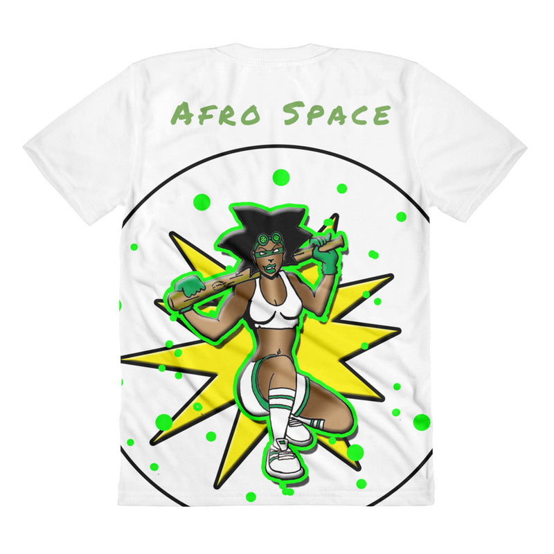 Green Machine Super Hero Sublimation women's crew neck t-shirt - Afro Space