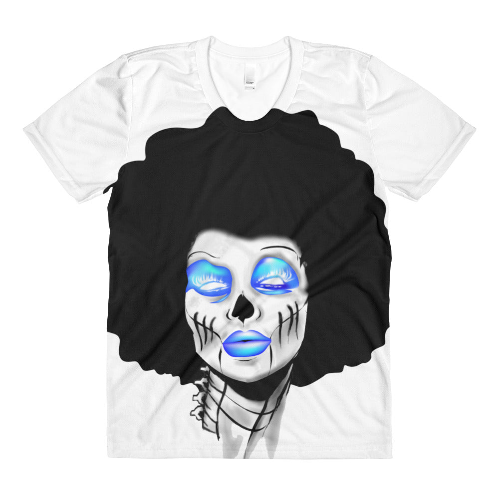 Afro Space Blue Sista Girl Sublimation women's crew neck t-shirt - Afro Space