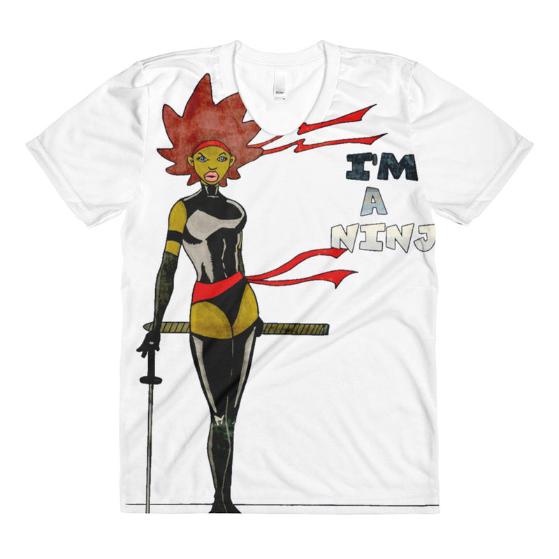 Sista Girl Super Hero _Sublimation women's crew neck t-shirt - Afro Space