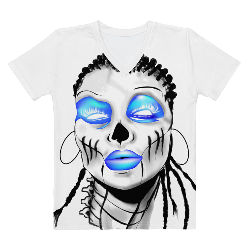 Sista Blue Women's V-neck - Afro Space