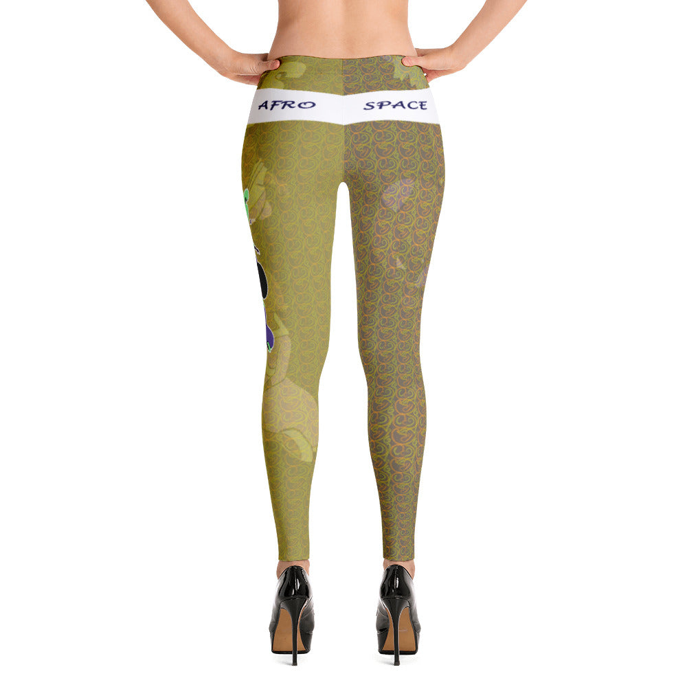 Green Afro Space Turner Leggings