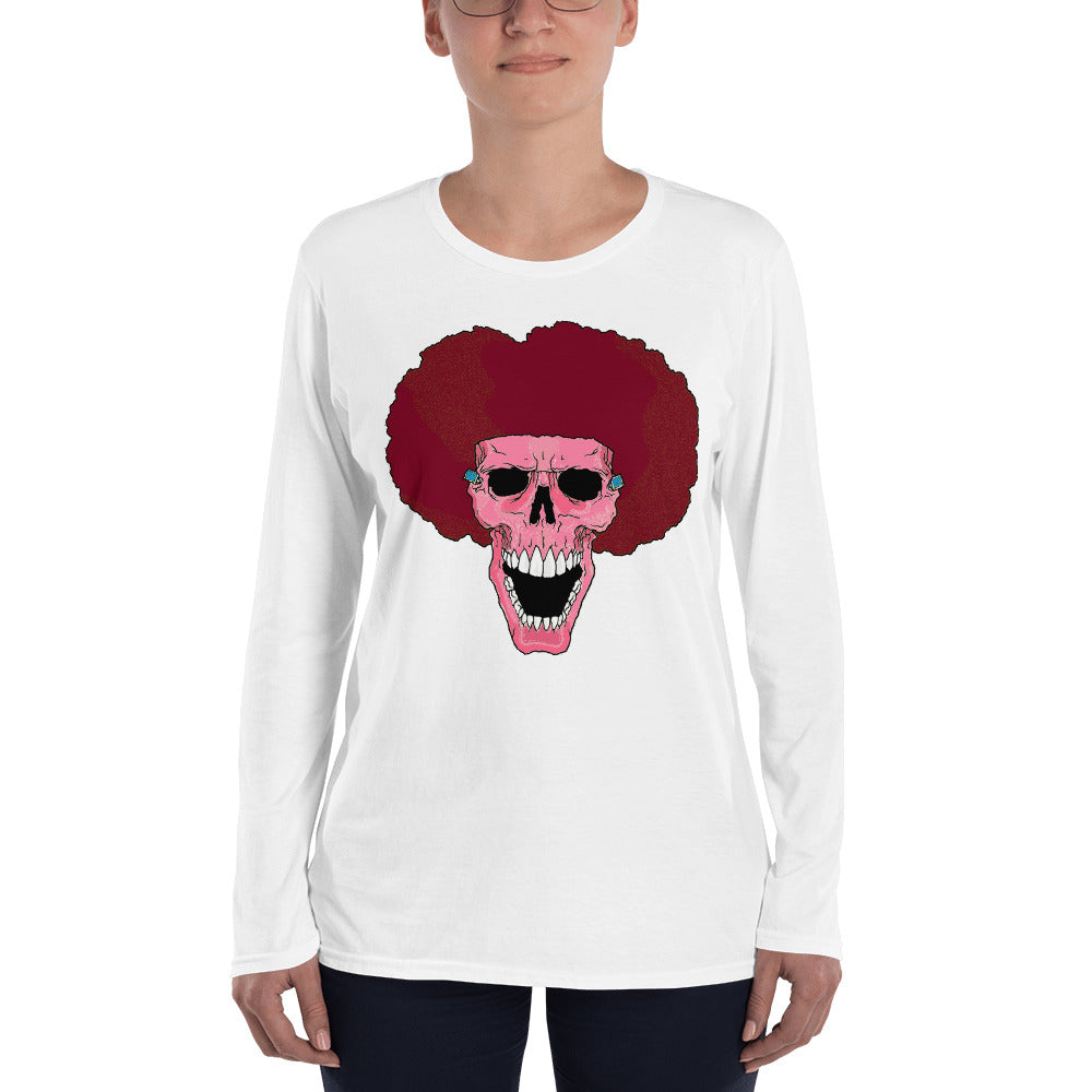 Ladies' Long Sleeve T-Shirt Pink Skull - Afro Space