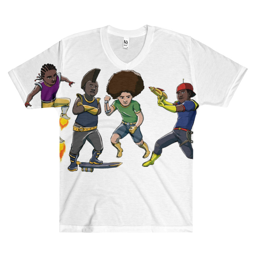 Afro Space Dem Boy's Men's V-Neck T-Shirt - Afro Space