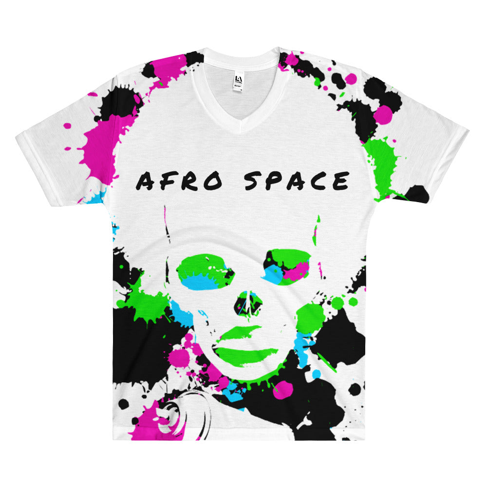 Tye Dye Afro Space Men's V-Neck T-Shirt