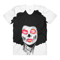 Afro Space Red Sista Girl Sublimation women's crew neck t-shirt - Afro Space